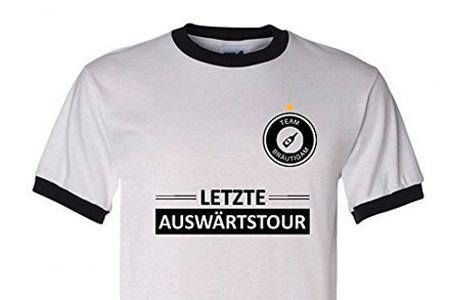 Herren Junggesellenabschied T Shirt Letzte Auswaertstour Fussball Style